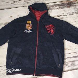Ecko Unltd. Reversible Hoodie Jacket Blue Red XXL